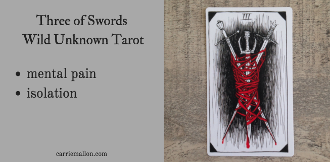 Three Of Swords Wild Unknown Tarot Card Meanings